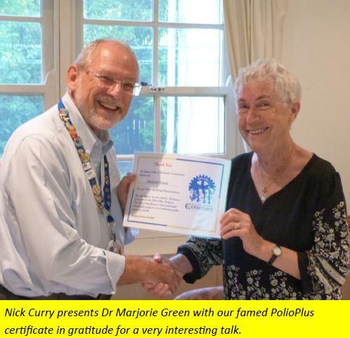 Guest Speaker 22/03/17 – Dr Marjorie Green